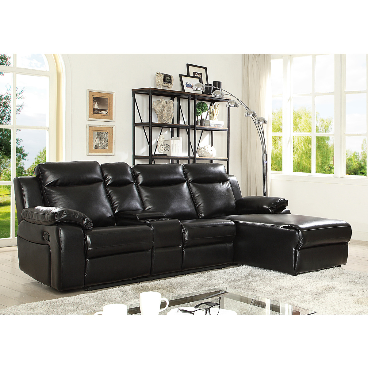 Well Liked 2Pc Connel Modern Chaise Sectional Sofas Black Intended For 9110Blkss 2Pc Sofa Chaise Black (View 19 of 25)