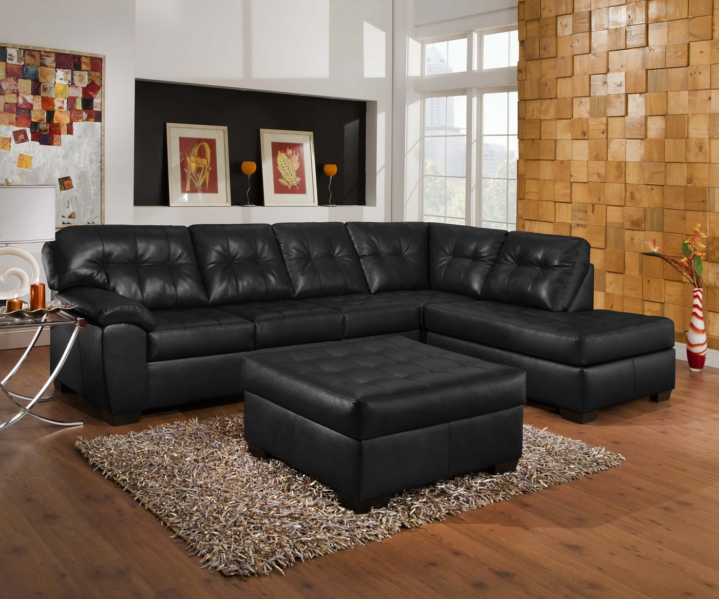 Well Liked 2Pc Connel Modern Chaise Sectional Sofas Black Throughout Soho Contemporary Onyx Leather Sectional Sofa W/ Left Chaise (View 10 of 25)