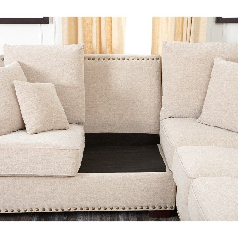 Well Liked 2Pc Polyfiber Sectional Sofas With Nailhead Trims Gray Pertaining To Abbyson Bromley Fabric Nailhead Sectional Sofa In (View 19 of 25)