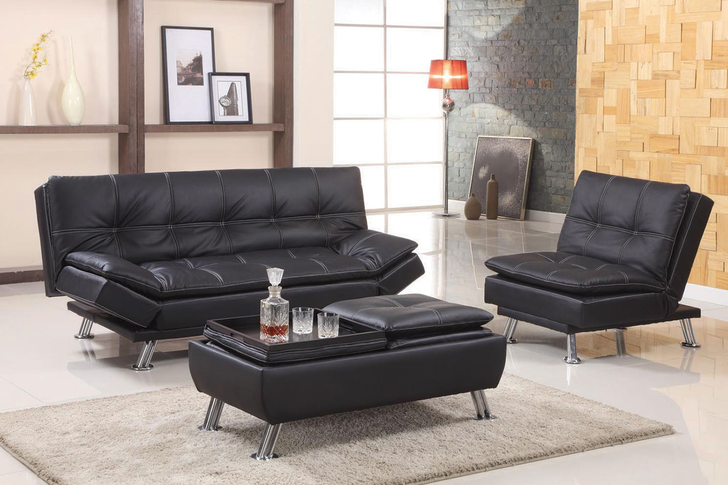 Well Liked Black Or Brown Adjustable Futon Sofa With Regard To Easton Small Space Sectional Futon Sofas (View 10 of 25)