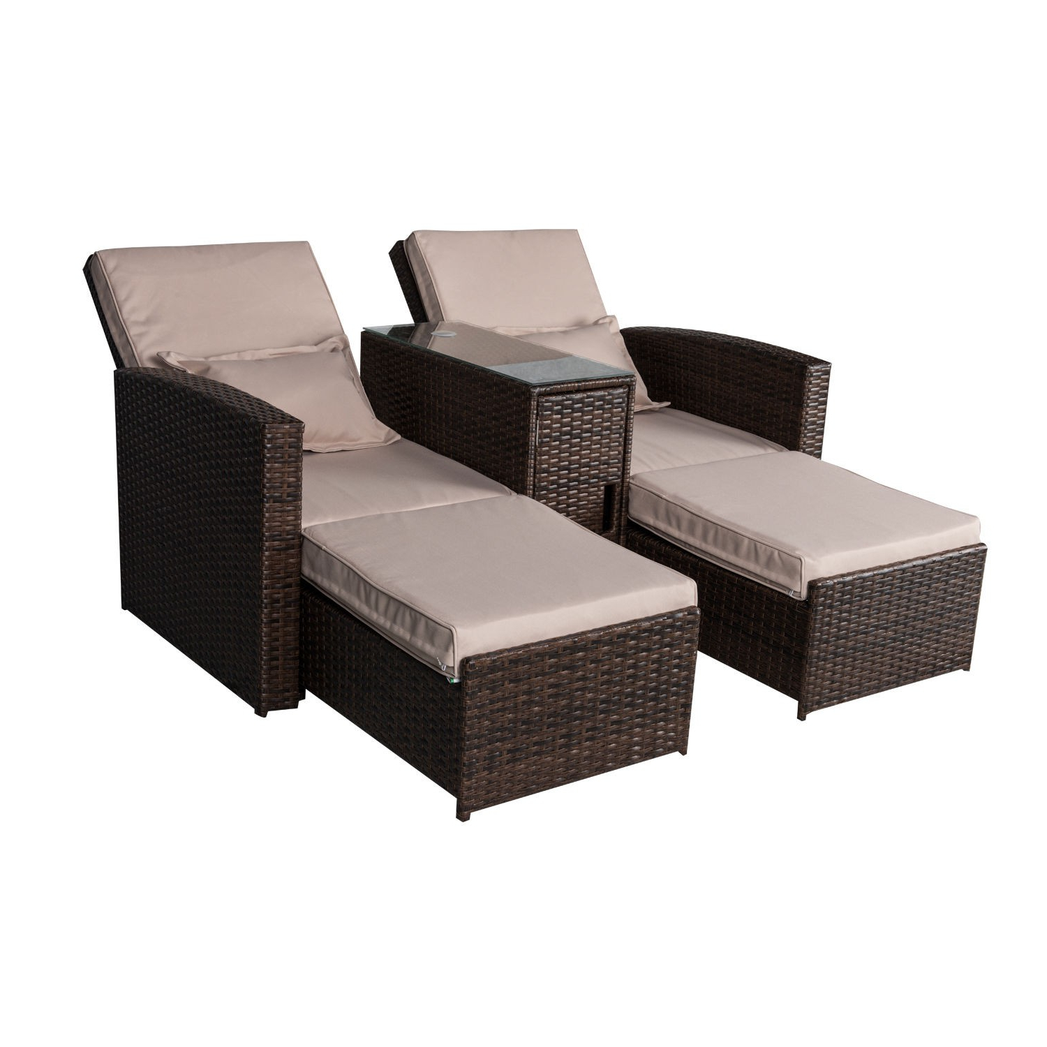 Well Liked Colby Manual Reclining Sofas Intended For Outsunny 3 Piece Outdoor Rattan Wicker Chaise Lounge (View 14 of 15)