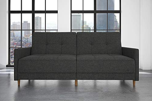 Well Liked Dhp Andora Coil Futon Sofa Bed Couch With Mid Century With Regard To Debbie Coil Sectional Futon Sofas (View 5 of 25)
