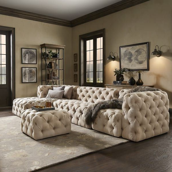 Well Liked Knightsbridge Ii Beige Linen Tufted Chesterfield Modular L Within Artisan Beige Sofas (View 6 of 15)