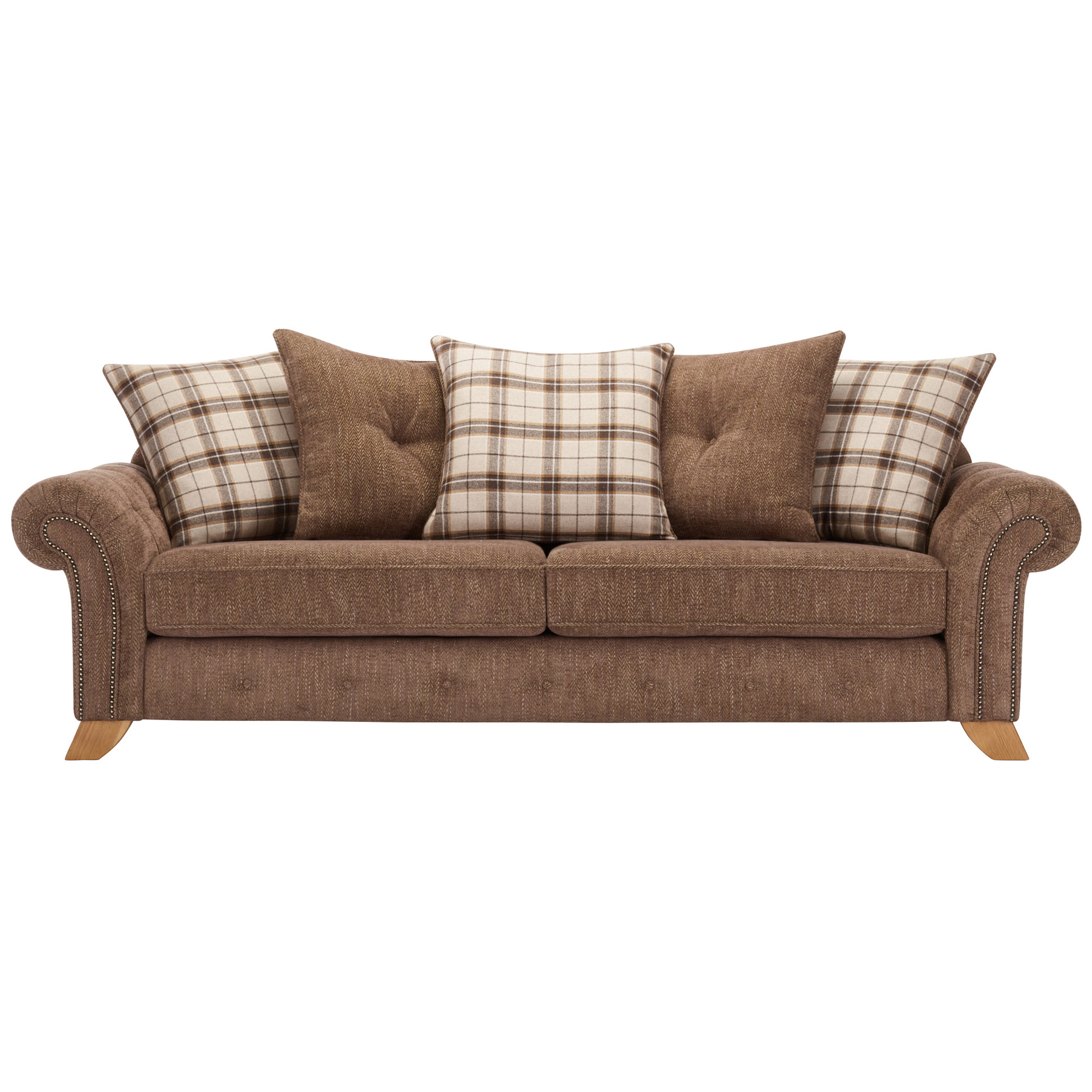 Well Liked Lyvia Pillowback Sofa Sectional Sofas Within Montana 4 Seater Sofa With Pillow Back In Brown Fabric (View 7 of 25)