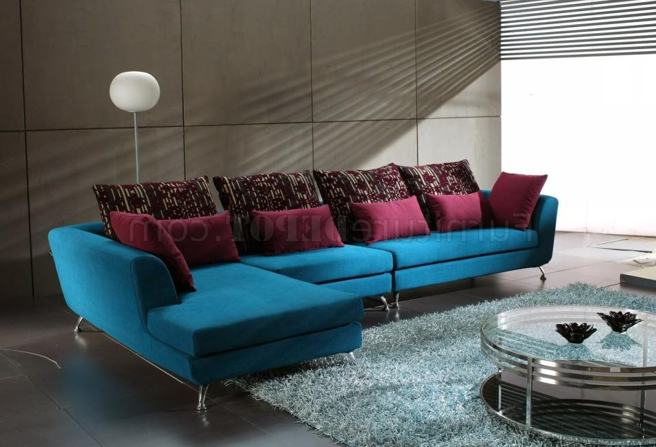 Well Liked Mireille Modern And Contemporary Fabric Upholstered Sectional Sofas In Blue Fabric Modern Sectional Sofa W/Contrasting Pillows (View 4 of 25)