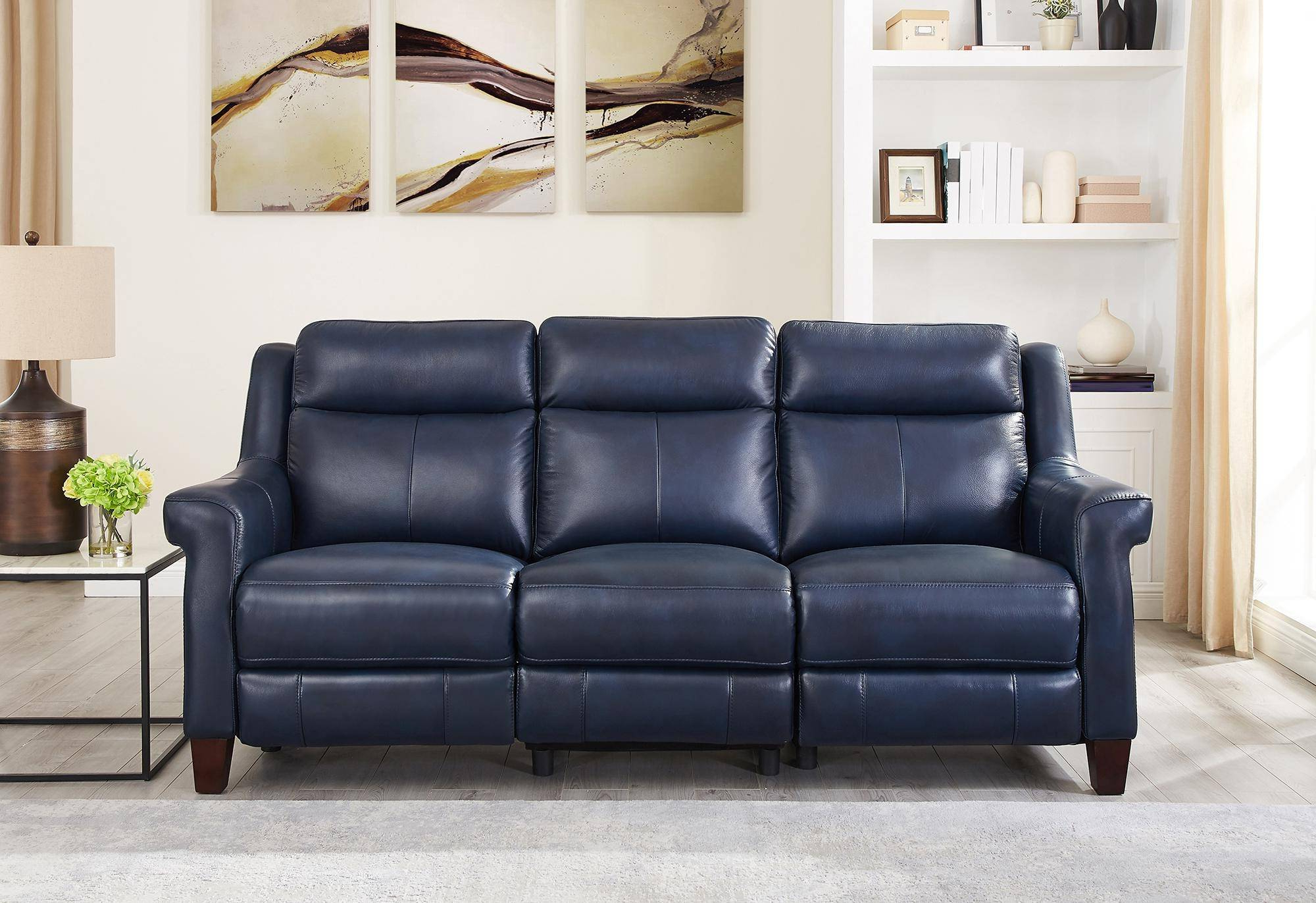 Well Liked Power Reclining Sofas In Chatham Blue Genuine Leather Power Reclining Sofa Loveseat (View 4 of 15)