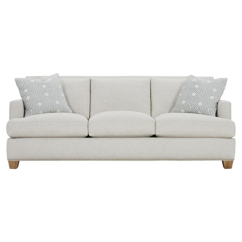Well Liked Radcliff Nailhead Trim Sectional Sofas Gray Within Leandra Modern Classic Grey Upholstered Nailhead Trim Sofa (View 13 of 25)