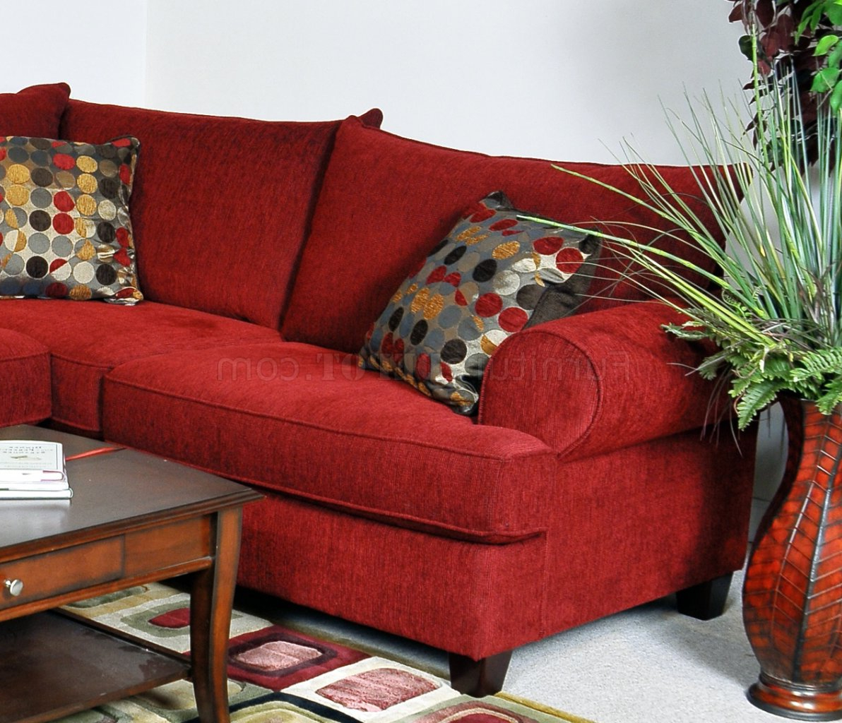 Well Liked Red Sofas With Red Fabric Contemporary Sectional Sofa W/Rolled Arms (View 1 of 15)