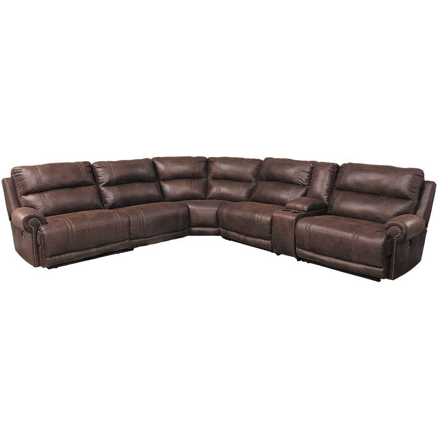 Well Liked Trailblazer Gray Leather Power Reclining Sofas Pertaining To 6 Piece Power Reclining Sectional (View 7 of 15)