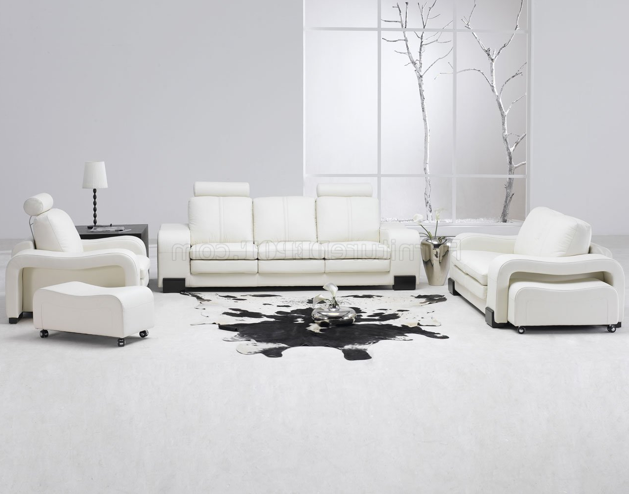 White Leather 4Pc Modern Sofa, Loveseat, Chair & Couch For Well Known 4Pc Beckett Contemporary Sectional Sofas And Ottoman Sets (View 9 of 25)
