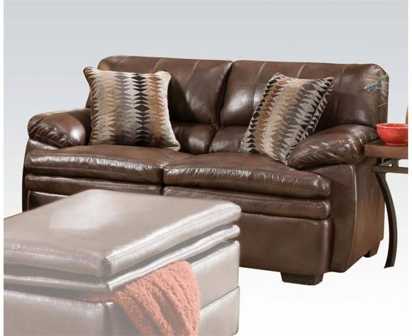 Widely Used 3Pc Bonded Leather Upholstered Wooden Sectional Sofas Brown In Devin Brown Bonded Leather Wood Loveseat W/2 Pillows (View 16 of 25)