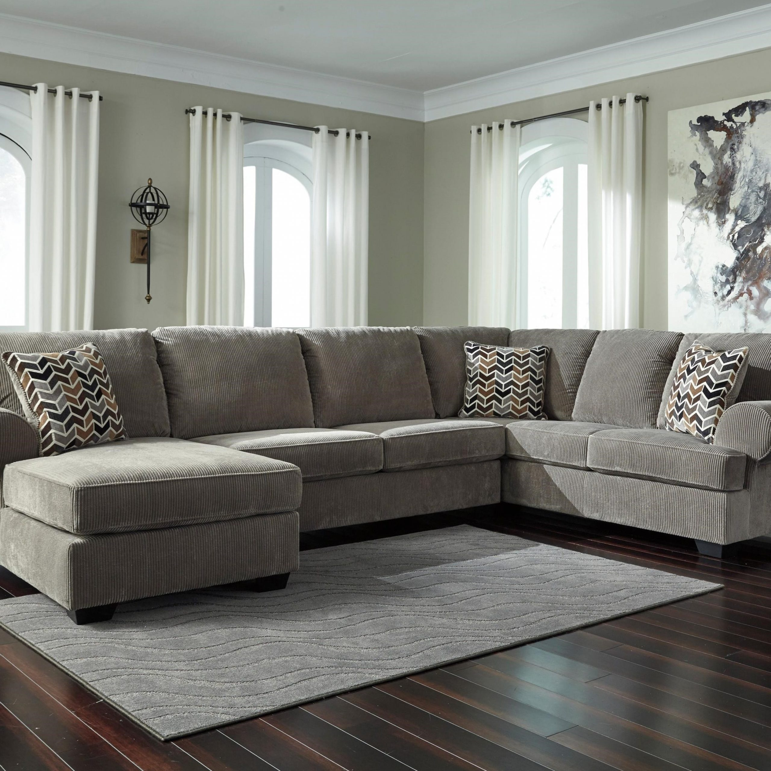 Widely Used 3Pc Miles Leather Sectional Sofas With Chaise Within Ashley Signature Design Jinllingsly Contemporary 3 Piece (View 16 of 25)