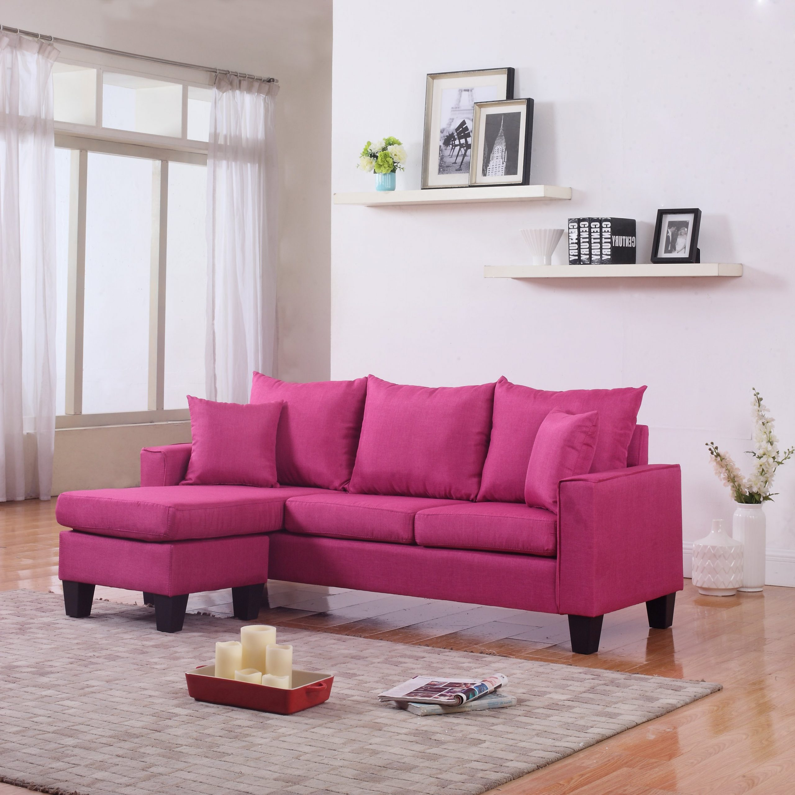 Widely Used 4Pc Crowningshield Contemporary Chaise Sectional Sofas Throughout Modern Linen Fabric Small Space Sectional Sofa With (View 4 of 25)