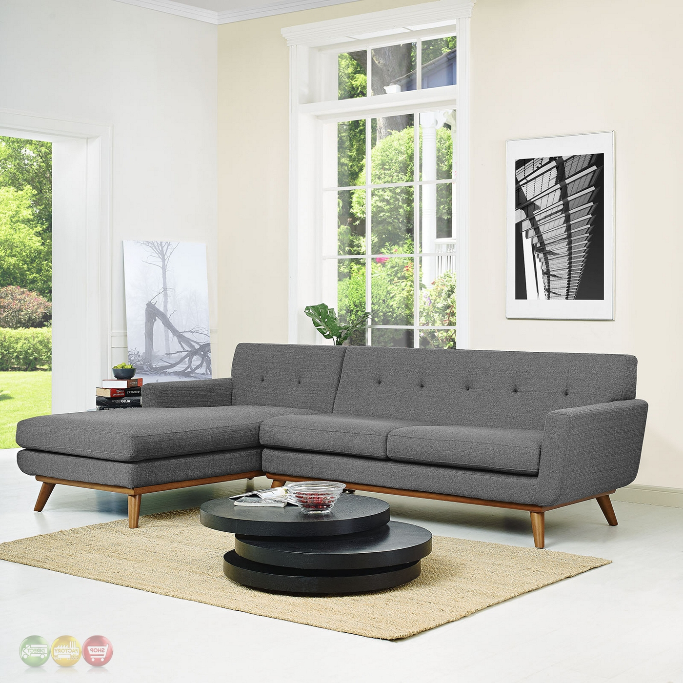 Widely Used Alani Mid Century Modern Sectional Sofas With Chaise With Regard To Mid Century Modern Engage Right Facing Chaise Sectional (View 20 of 25)