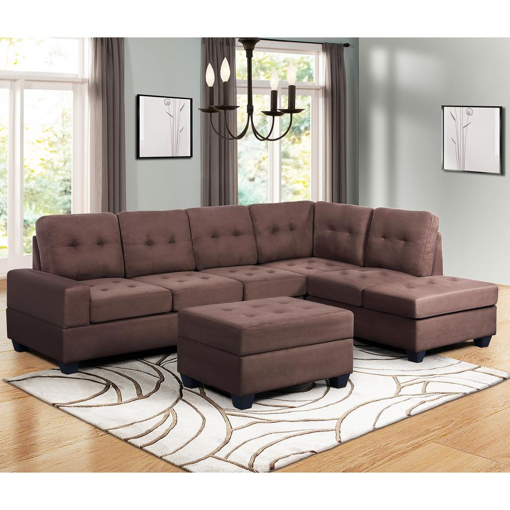 Widely Used Harper & Bright Designs Brown 3 Piece Sectional Sofa In Copenhagen Reversible Small Space Sectional Sofas With Storage (View 4 of 25)