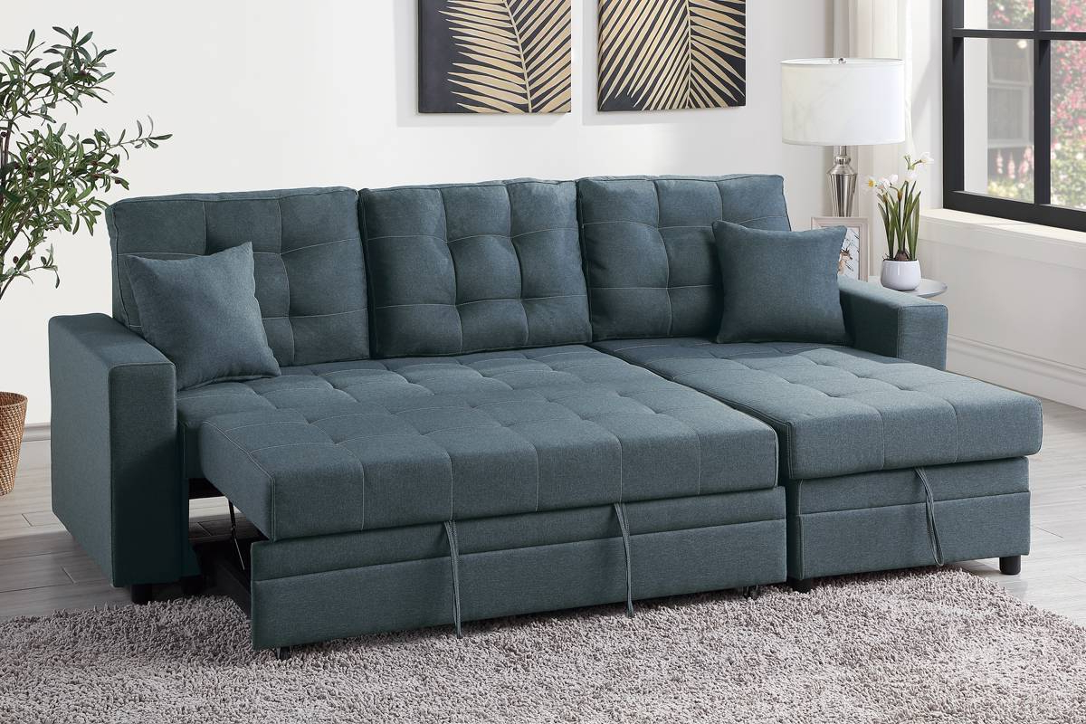 Widely Used Hugo Chenille Upholstered Storage Sectional Futon Sofas Within Blue Grey Convertible Pullout Bed Sofa Sectional + Storage (View 4 of 25)