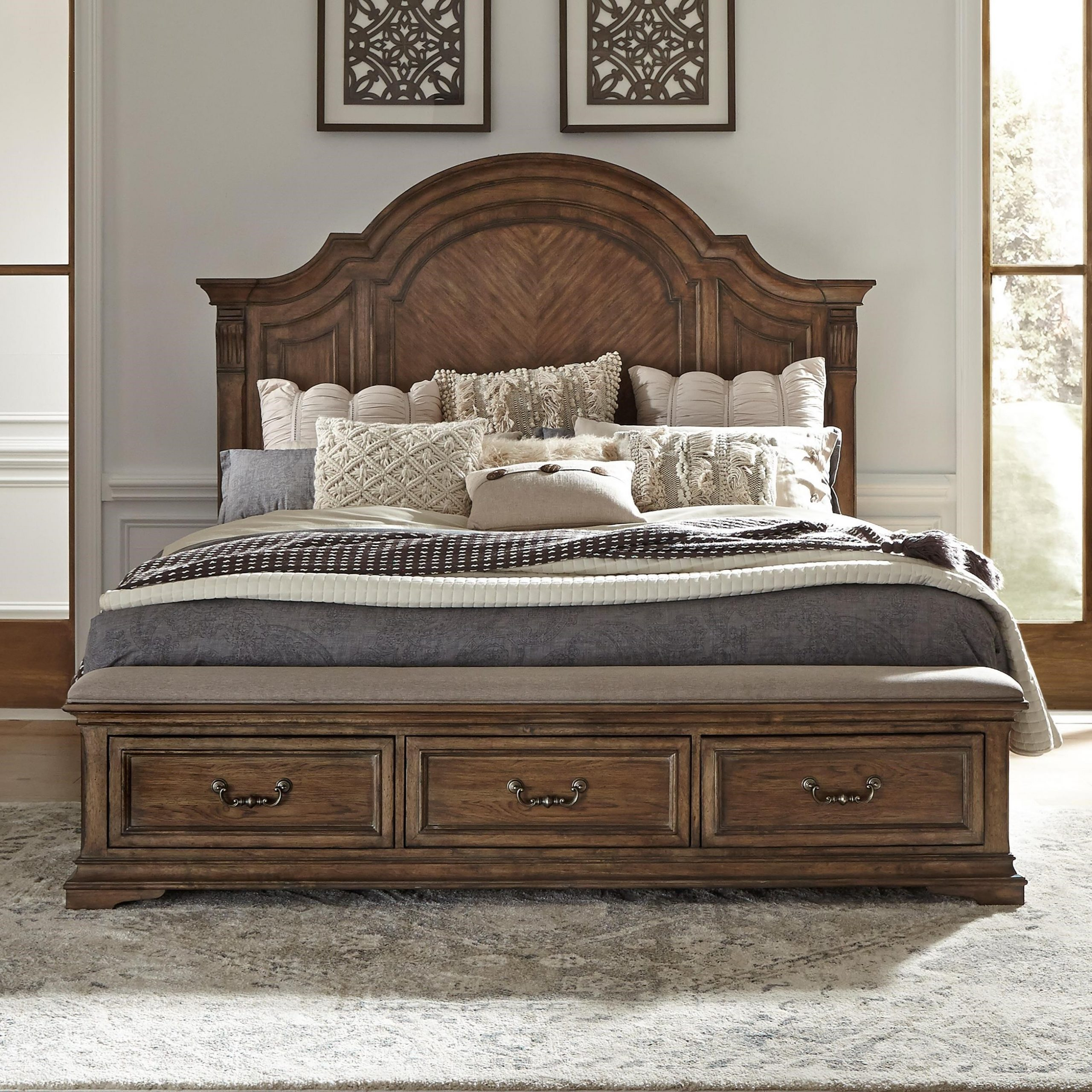 Widely Used Liberty Furniture Haven Hall Traditional Queen Storage Bed With Liberty Sectional Futon Sofas With Storage (View 3 of 25)