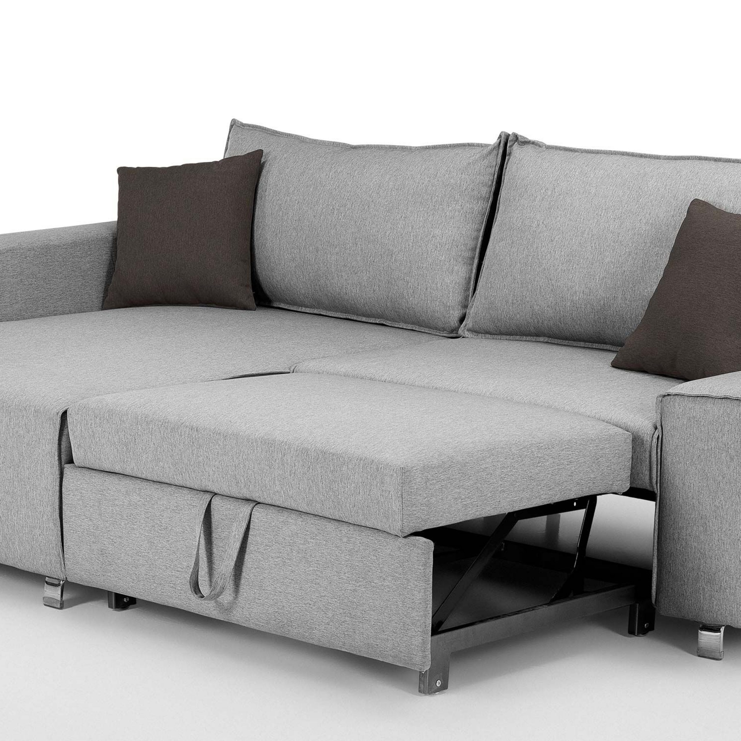 Widely Used Mayne Right Hand Facing Corner Sofa Bed, Clear Grey Stone Throughout Dulce Right Sectional Sofas Twill Stone (View 13 of 25)