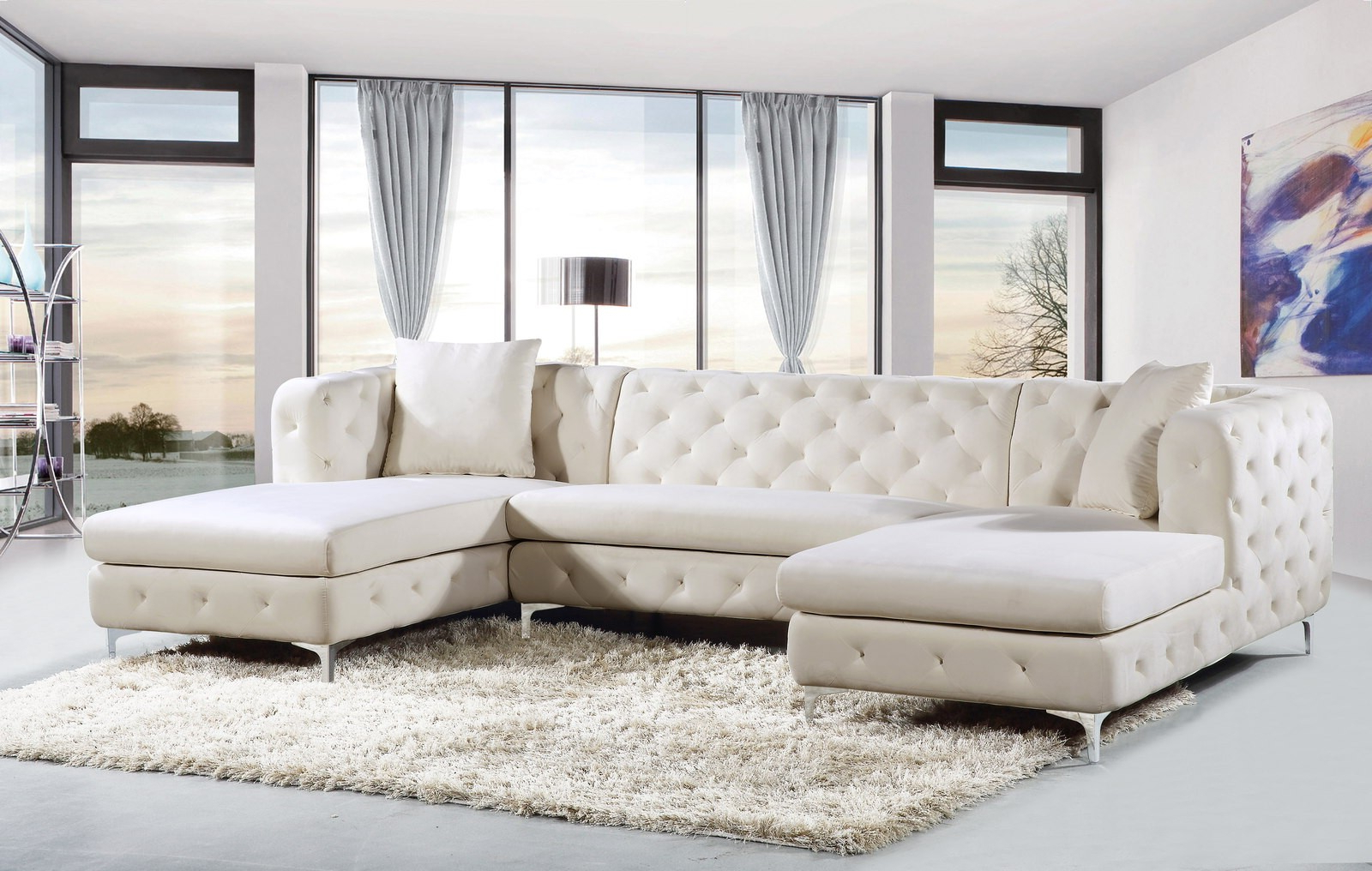 Widely Used Meridian Gail Velvet 3Pc Sectional In Cream 664Cream Pertaining To 3Pc French Seamed Sectional Sofas Velvet Black (View 22 of 25)