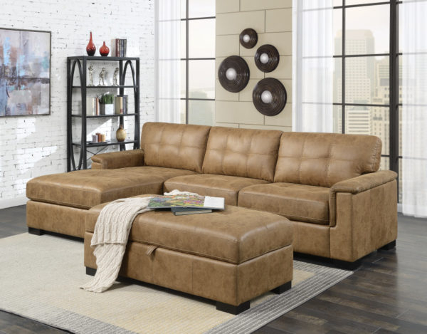 Widely Used Saddle Brown Faux Leather Sofa Sectional With Chaise In Regarding 3Pc Faux Leather Sectional Sofas Brown (View 5 of 25)