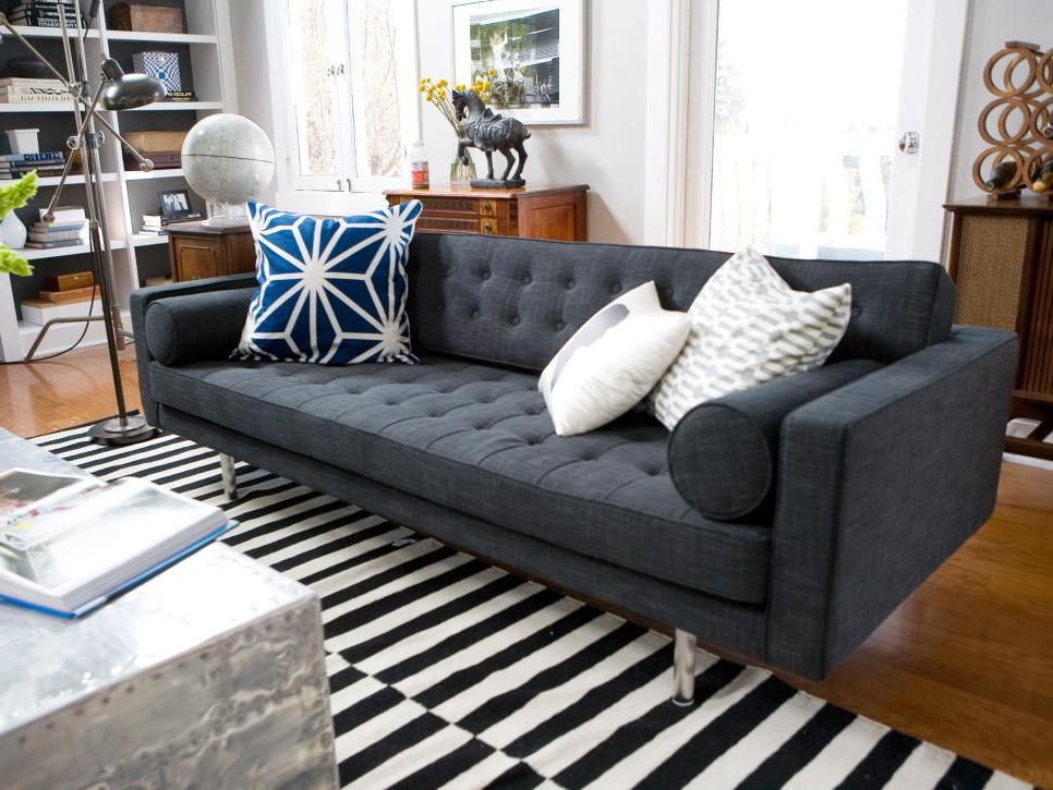 Widely Used This Midcentury Modern Gray Tufted Sofa Adds A Hip Vibe To Throughout Dulce Mid Century Chaise Sofas Dark Blue (View 8 of 25)