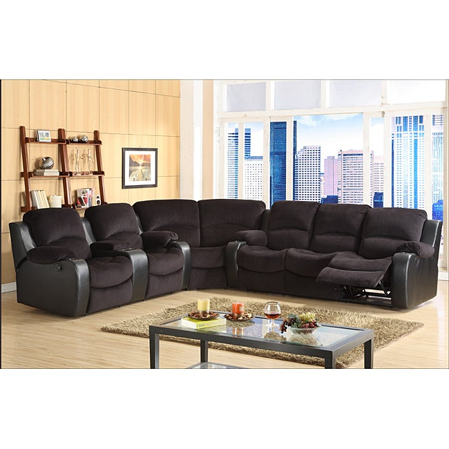 Widely Used Tyson Microfiber Reclining 3 Piece Sectional Set With Bonded Leather All In One Sectional Sofas With Ottoman And 2 Pillows Brown (View 23 of 25)