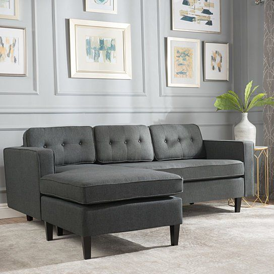 Windsor Mid Century 2 Piece Fabric Chaise Sectional Sofa With Widely Used 2Pc Connel Modern Chaise Sectional Sofas Black (View 7 of 25)