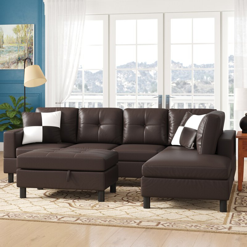 """Winston Porter Roughton 103"""" Wide Modular Sofa & Chaise With Most Current Winston Sofa Sectional Sofas (View 13 of 25)"""