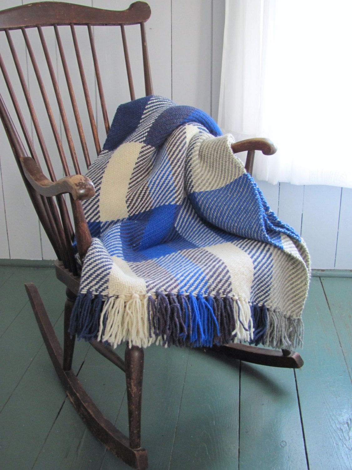 Wool Throw Blanket, Plaid Artisan Hand Woven Ocean Blue With Recent Artisan Blue Sofas (View 13 of 15)