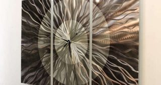 Abstract Metal Wall Art With Clock