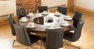 8 Seater Wood Contemporary Dining Tables With Extension Leaf