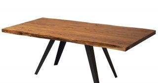 Acacia Dining Tables With Black Rocket-Legs