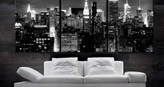 New York Skyline Canvas Black And White Wall Art