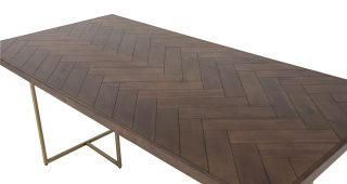 Acacia Top Dining Tables With Metal Legs