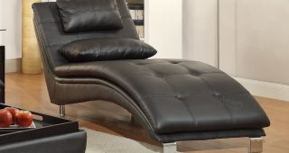 Black Leather Chaises