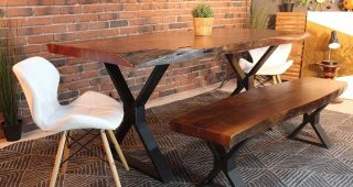 Acacia Dining Tables With Black X-Leg