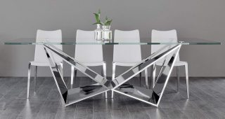 Long Dining Tables With Polished Black Stainless Steel Base
