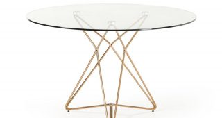 Modern Gold Dining Tables With Clear Glass