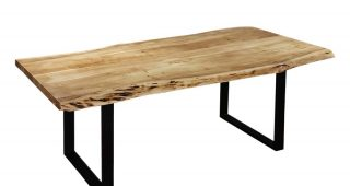 Acacia Wood Top Dining Tables With Iron Legs On Raw Metal