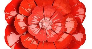 Red Flower Metal Wall Art