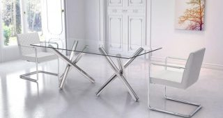 Steel And Glass Rectangle Dining Tables