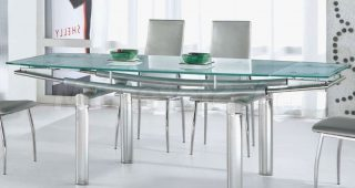 Modern Glass Top Extension Dining Tables In Stainless