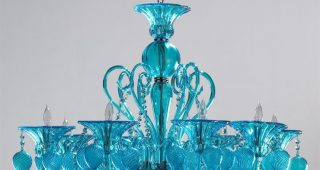 Turquoise Blue Glass Chandeliers